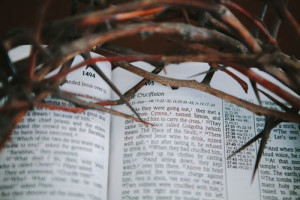 crown of thorns with bible